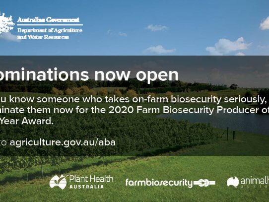 We're on the lookout for the 2020 Farm Biosecurity Producer of the Year